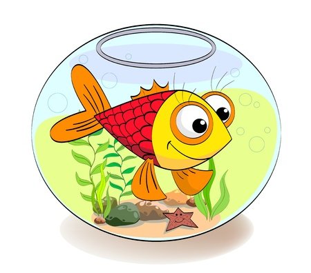 a small red fish the aquarium with plants Illustration
