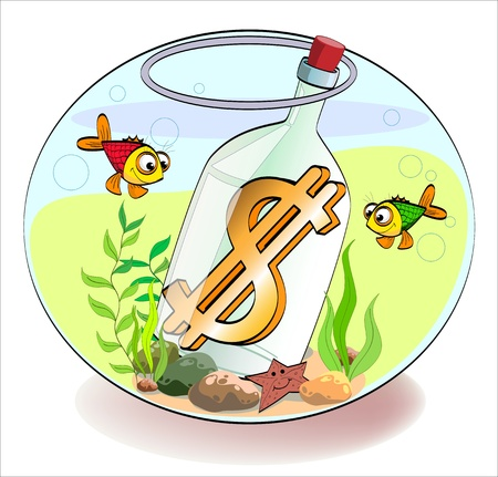a gold dollar sign in the bottle, which lies in aquarium with fish