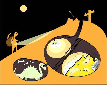 prospector: el hombre en busca de oro se levanta sobre la montaña, donde la vida del dragón, ilustración abstracta Vectores