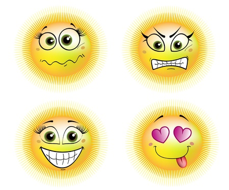 four suns - scared, angry, in love and smiling Illustration
