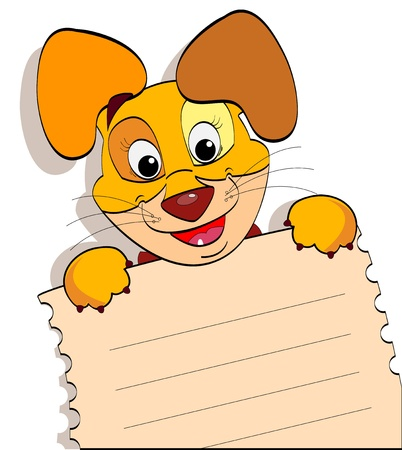 smiling cartoon dog with a sheet of notebook with lines