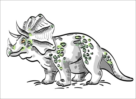 hand drawn  Dinosaur Triceratops, a sketch made in the three-color palette - gray, green, yellow Illustration