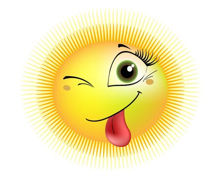 a smiling sun winks and shows tongue Illustration