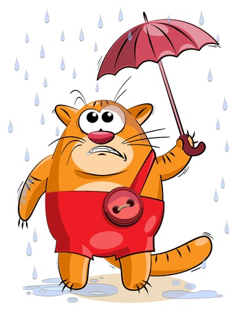 fat cat under a small umbrella trying to hide from the rain Illustration