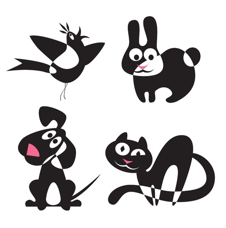 cat dog: Abstract silhouettes of animals - rabbit, dog, cat, bird Illustration