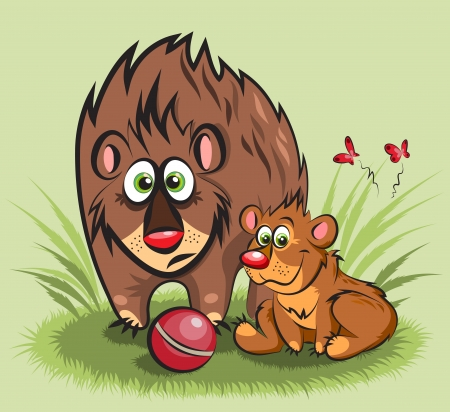 a family of bears - big and small with a ball Illustration