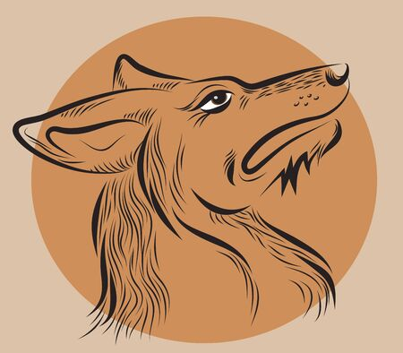 dogs head, drawn by hand  on a brown background
