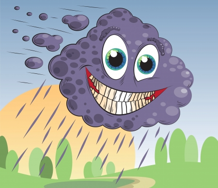 sarcastically smiling cloud flies over the land Illustration