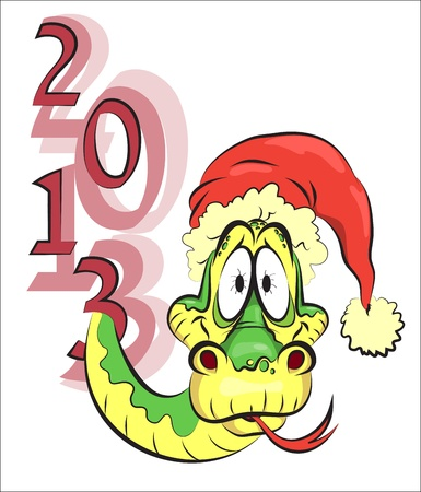 New Year snake in the red hat, 2013 Illustration