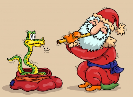 Santa Claus with flute and snake - a symbol of 2013 Vector