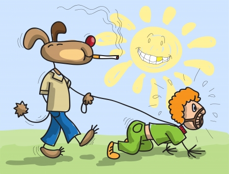 lead: Dog has man on a lead, stylized childrens drawing