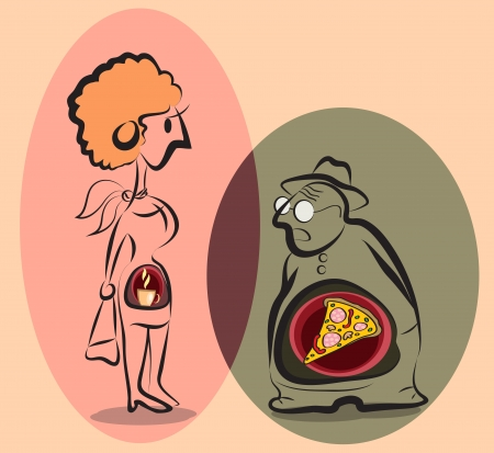 stylized man and woman with food inside