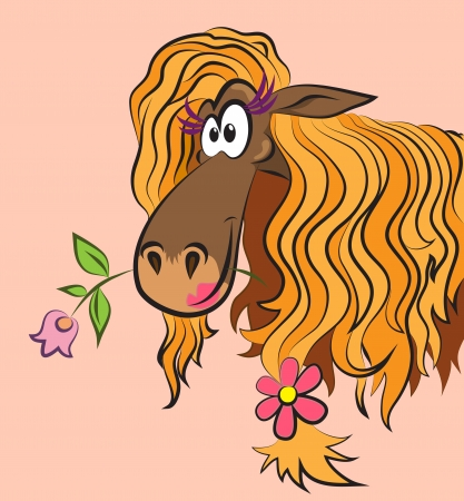 naive: funny horse with a flower in her mouth