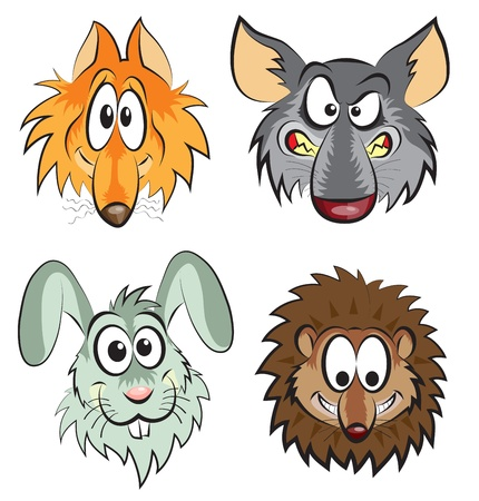 cartoon hare: head of wild animals - a fox, wolf, hare, hedgehog Illustration