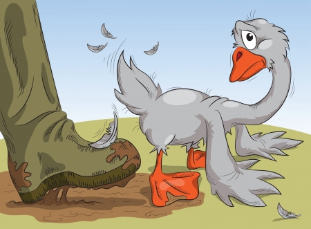 human foot in a muddy boot pushes the goose in the ass