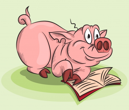 funny pig reading a book Illustration