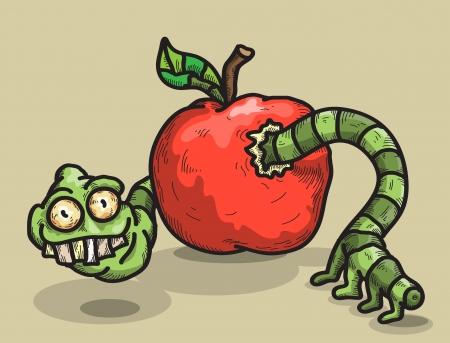sarc�stico: gusano sarc�stico parece fuera de una manzana