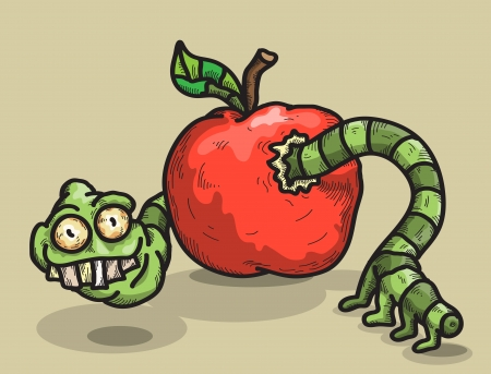 sarcastic worm looks out of an apple