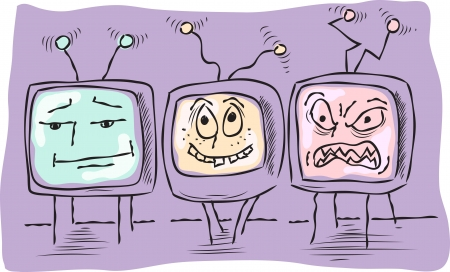 three funny television, expressing different emotions - indifference, joy, anger Illustration