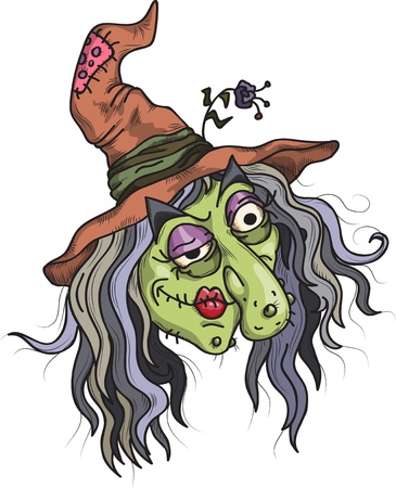 h�sslich: L�chelnd Hexe, Illustration f�r Halloween