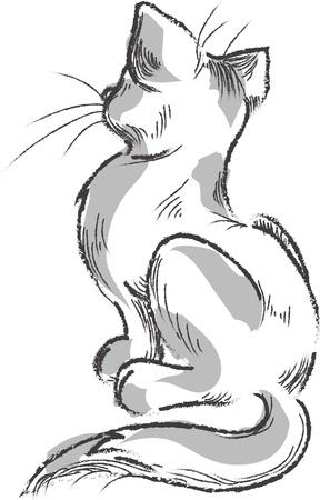 Gato dibujado a mano, dibujo Foto de archivo - 16290401