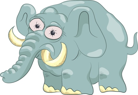 funny elephant isolated on white, vector illustration Illustration