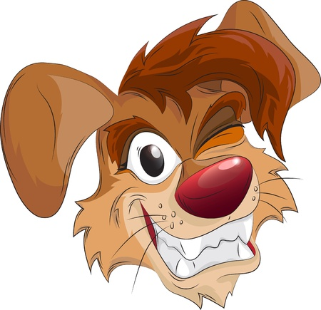 smiling dogs head, cartoon character, isolated on white Vector