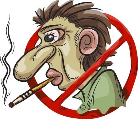 drogadiccion: ningún símbolo de fumar, un hombre con un cigarrillo, aislado en blanco Vectores