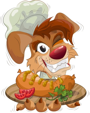 smiling dog the chef holds a plate with sausage, vector illustration, EPS 10, included elements of transparency as a highlights on the nose and the pupil of eye