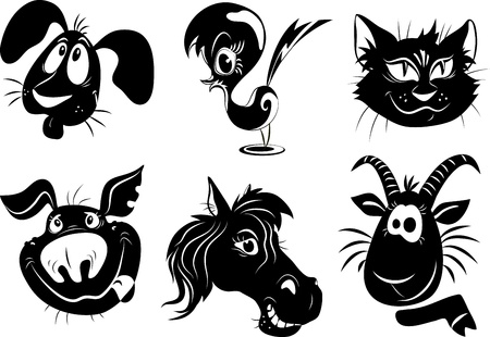 stylized silhouettes of farm animals - a dog, bird, cat, pig, horse, goat Illustration