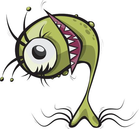 microbio: sonriendo microbio verde con colmillos, ilustración vectorial para los niños