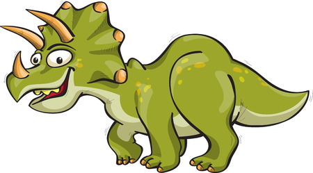 horny: funny dinosaur - triceratops, vector, isolated on white, cartoon