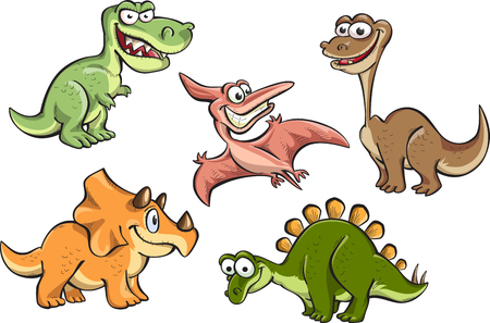 cute dinosaur: set of cartoon dinosaurs, vector, isolated on white Illustration