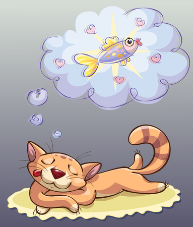 siesta: cat sleeping and dreaming about gold fish, vector illustration