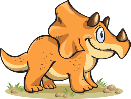triceratops: triceratops, isolated on white, vector, cartoon Illustration
