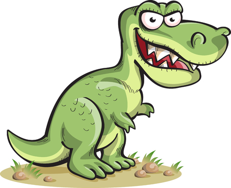 angry animal: tyrannosaurus, isolated on white, vector, cartoon