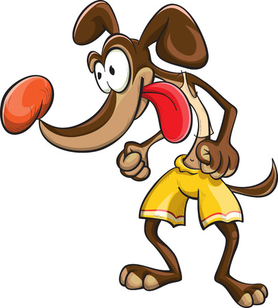dexterity: dog sportsman in yellow shorts, vector, cartoon, isolated on white