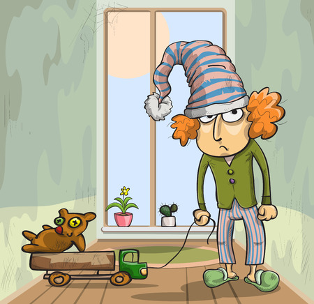 old toys: boy in a cap with old toys, vector illustration Illustration