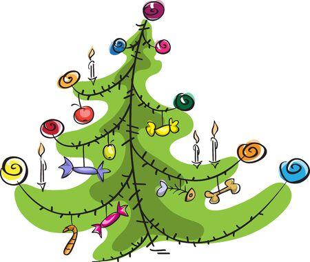 stylized Christmas tree, cartoon, isolated on white Illustration