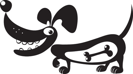 tummy: silhouette of a dog with a bone in his stomach, vector, isolated on white, caricature Illustration