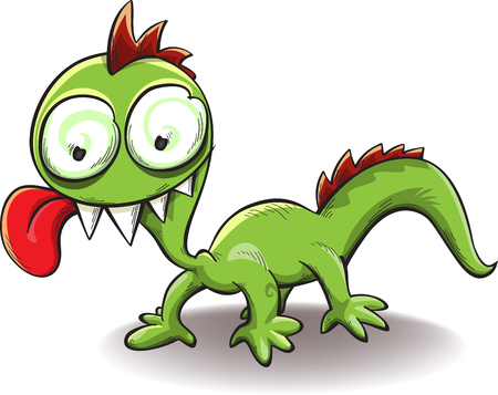 comical dragon with tongue hanging out, isolated on white, illustration