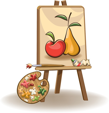 painting on the easel with paintbrush, tubes of oil paint and palette,  isolated on white