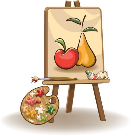 peinture sur le chevalet avec un pinceau, tubes de peinture à l'huile et la palette, isolé sur blanc