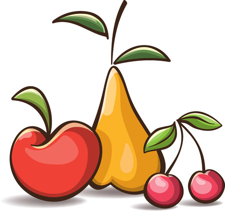 Simple cartoon fruits - apple, pear and cherry, isolated on white