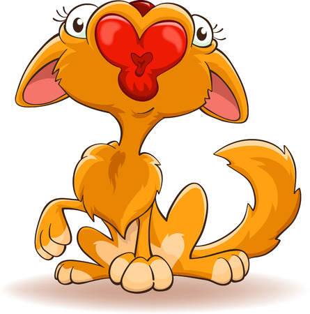 kissing mouth: cartoon cat with kissing mouth, isolated on white, contains elements of the contour feather