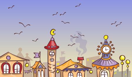 Cartoon evening city, illustration on a fantasy theme Illustration