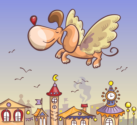 moon  metropolis: dog with wings flying over the city, cartoon illustration