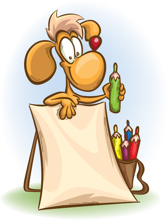cartoon dog with a pencil and a blank poster,  isolated on white