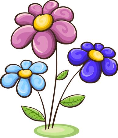 Three cartoon flowers - blue, pink, purple, isolated on white