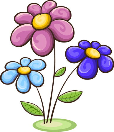 Three cartoon flowers - blue, pink, purple, isolated on white